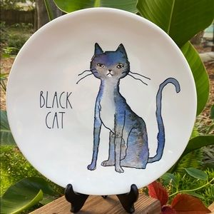 New Rae Dunn BLACK CAT Halloween Dinner Plate